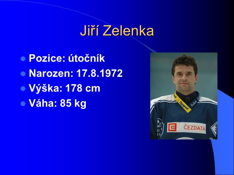 Jiří Zelenka Pozice: útočník Narozen: 17.8.1972 Výška: 178 cm Váha: 85 kg