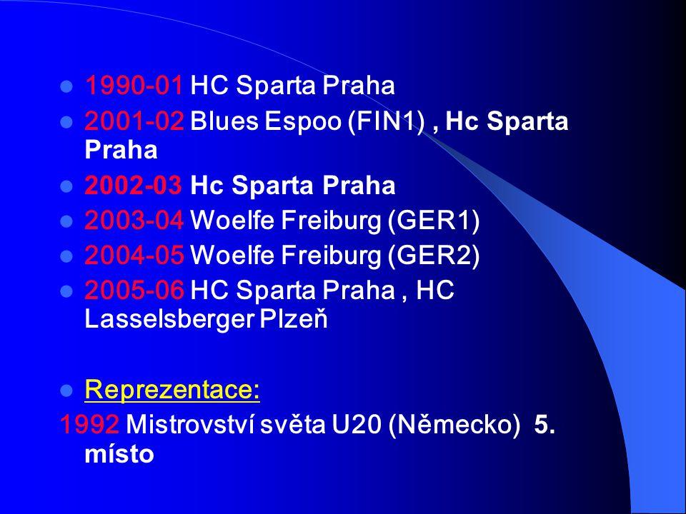 1990-01 HC Sparta Praha 2001-02 Blues Espoo (FIN1), Hc Sparta Praha 2002-03 Hc Sparta Praha 2003-04 Woelfe Freiburg (GER1) 2004-05 Woelfe Freiburg (GE