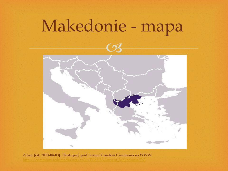  Úkoly 1.Práce s historickým atlasem: najděte na mapě v atlasech oblast Makedonie.