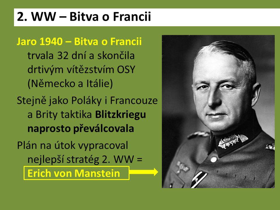 Jaro 1940 – Bitva o Francii trvala 32 dní a skončila drtivým vítězstvím OSY (Německo a Itálie) Stejně jako Poláky i Francouze a Brity taktika Blitzkriegu naprosto převálcovala Plán na útok vypracoval nejlepší stratég 2.