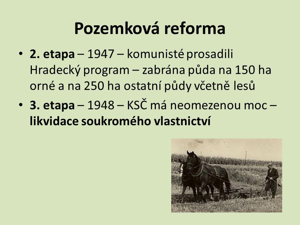 Pozemková reforma 2. etapa – 1947 – komunisté prosadili Hradecký program – zabrána půda na 150 ha orné a na 250 ha ostatní půdy včetně lesů 3. etapa –