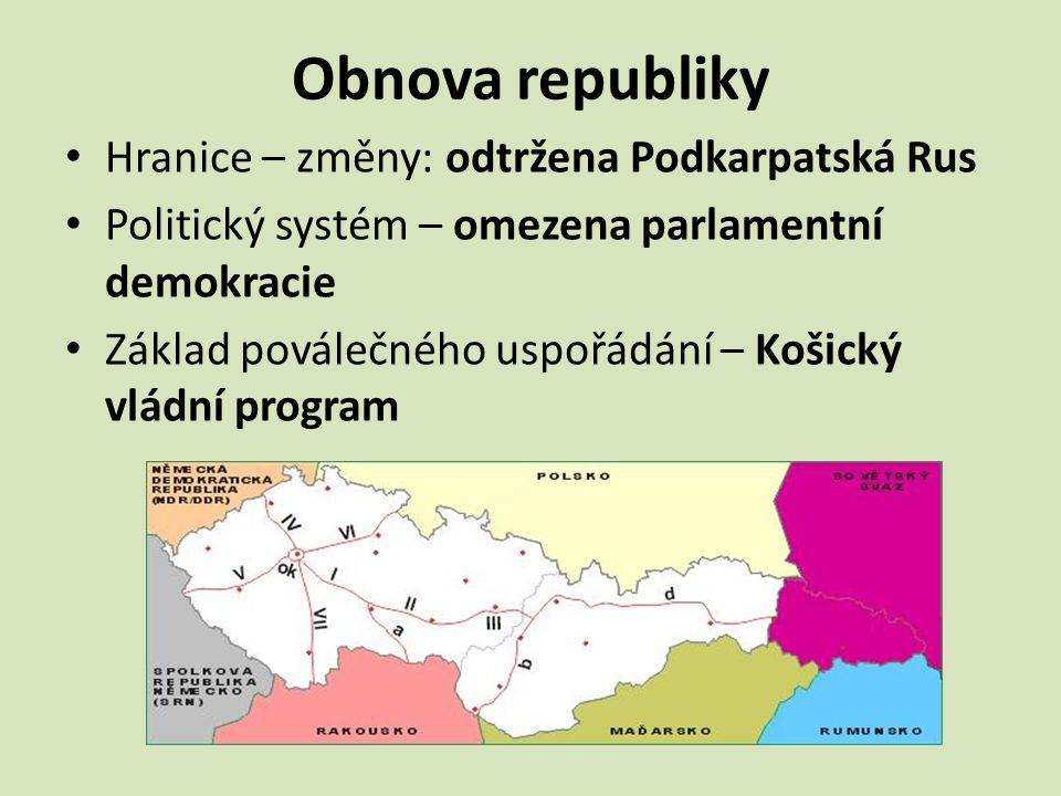 Obnova republiky Hranice – změny: odtržena Podkarpatská Rus Politický systém – omezena parlamentní demokracie Základ poválečného uspořádání – Košický
