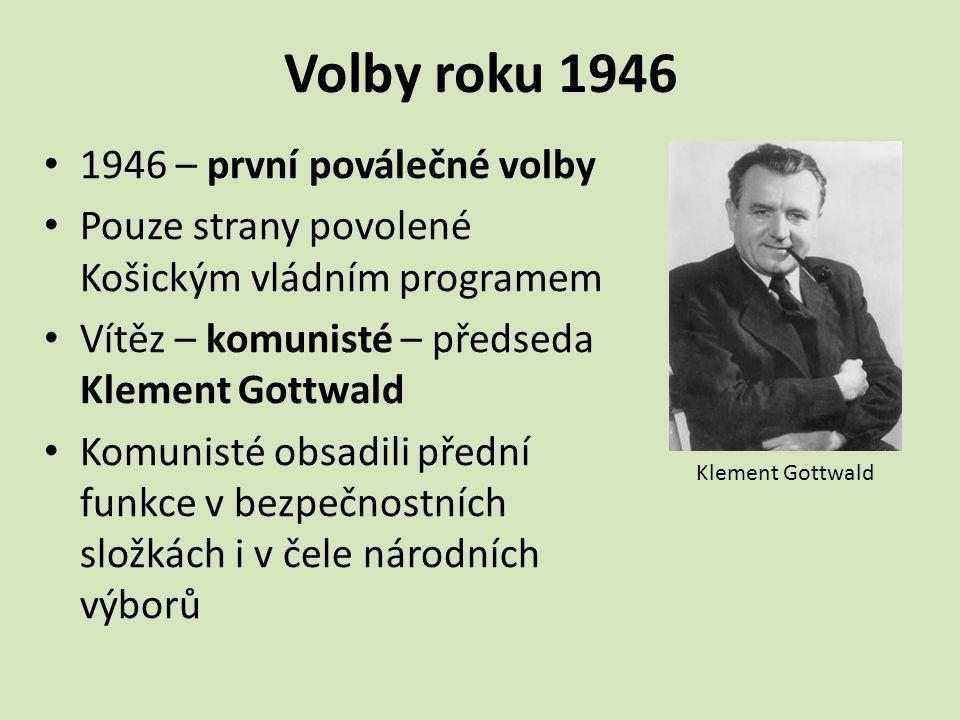 Volby roku 1946 1946 – první poválečné volby Pouze strany povolené Košickým vládním programem Vítěz – komunisté – předseda Klement Gottwald Komunisté