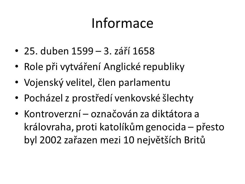 Informace 25.duben 1599 – 3.