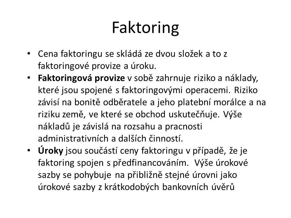 Faktoring Cena faktoringu se skládá ze dvou složek a to z faktoringové provize a úroku. Faktoringová provize v sobě zahrnuje riziko a náklady, které j