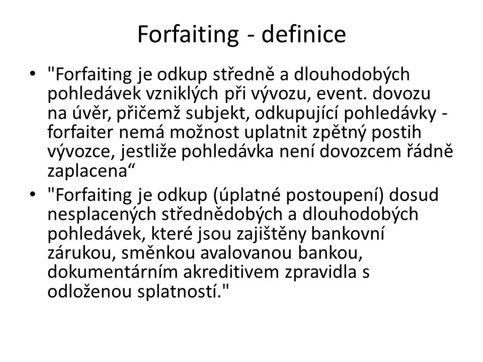 Forfaiting - definice