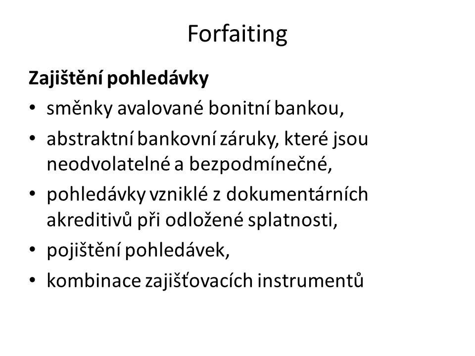 Forfaiting Zajištění pohledávky směnky avalované bonitní bankou, abstraktní bankovní záruky, které jsou neodvolatelné a bezpodmínečné, pohledávky vzni