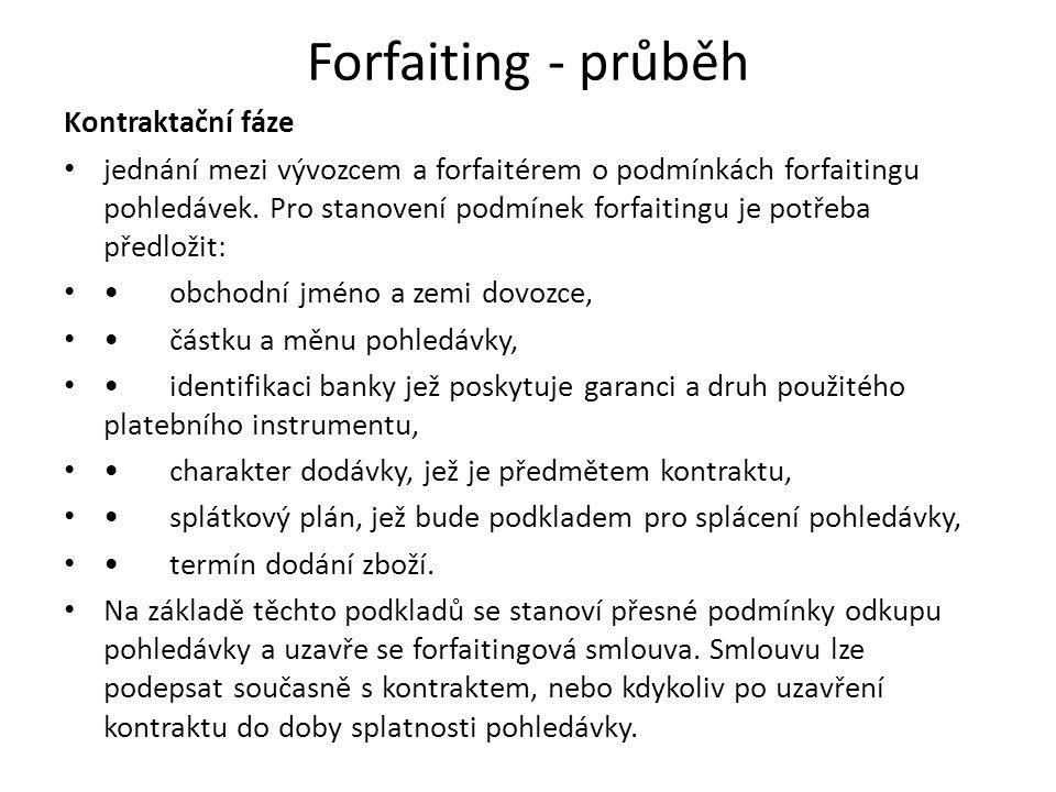 Forfaiting - průběh Kontraktační fáze jednání mezi vývozcem a forfaitérem o podmínkách forfaitingu pohledávek. Pro stanovení podmínek forfaitingu je p