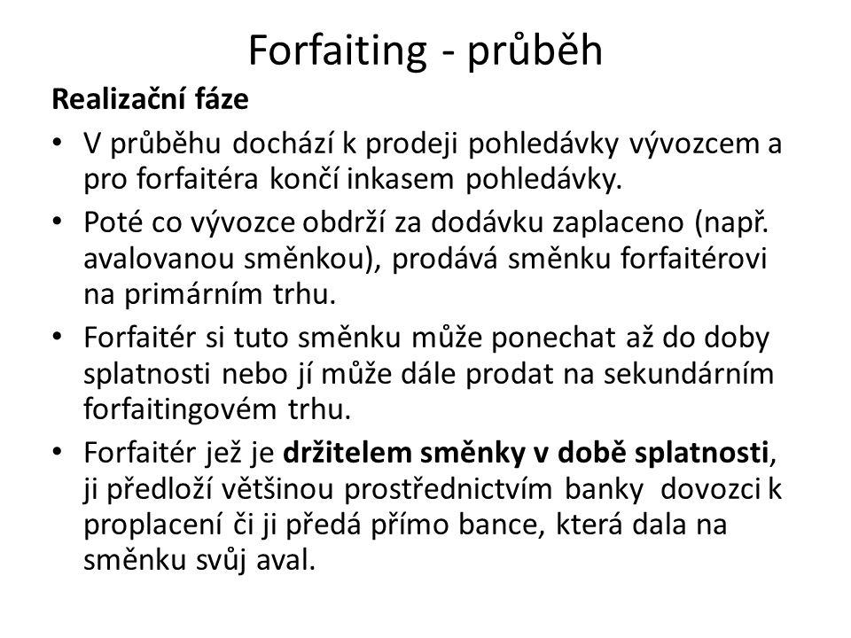 Forfaiting - průběh Realizační fáze V průběhu dochází k prodeji pohledávky vývozcem a pro forfaitéra končí inkasem pohledávky. Poté co vývozce obdrží