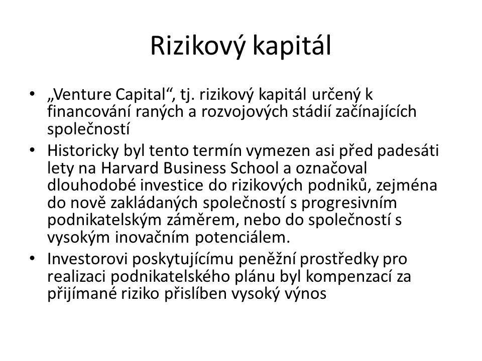 """""""Venture Capital"""", tj. rizikový kapitál určený k financování raných a rozvojových stádií začínajících společností Historicky byl tento termín vymezen"""