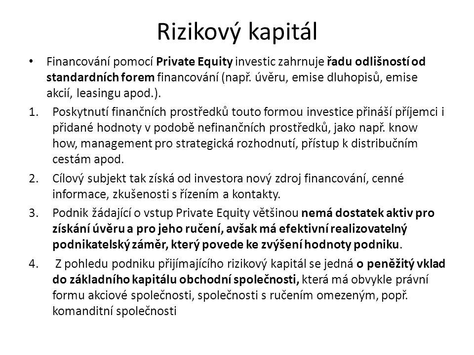 Rizikový kapitál Financování pomocí Private Equity investic zahrnuje řadu odlišností od standardních forem financování (např. úvěru, emise dluhopisů,