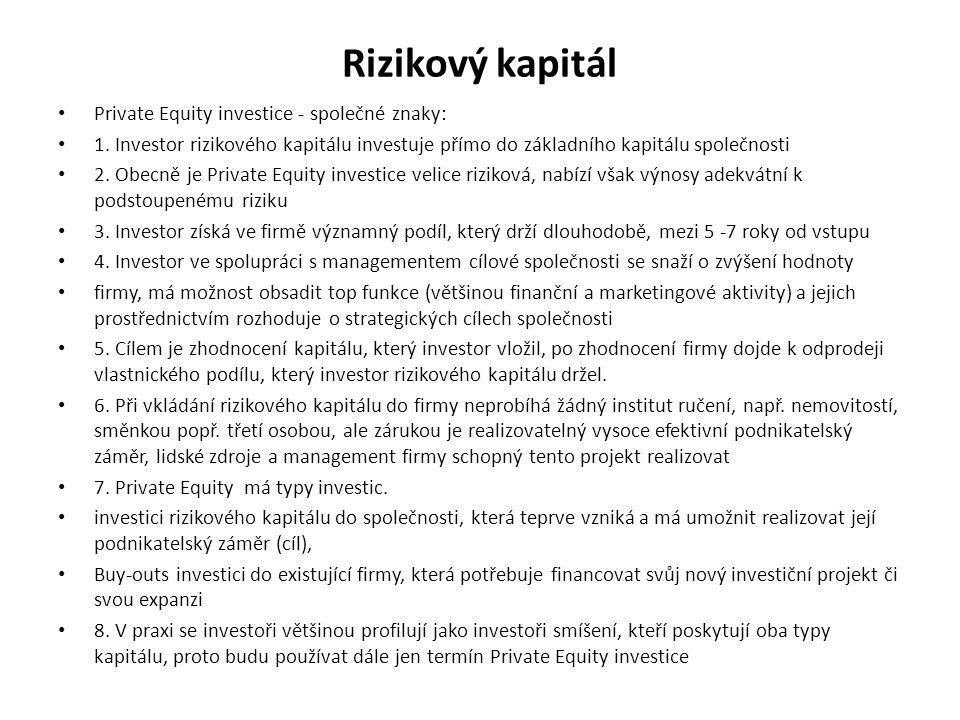 Rizikový kapitál Private Equity investice - společné znaky: 1. Investor rizikového kapitálu investuje přímo do základního kapitálu společnosti 2. Obec