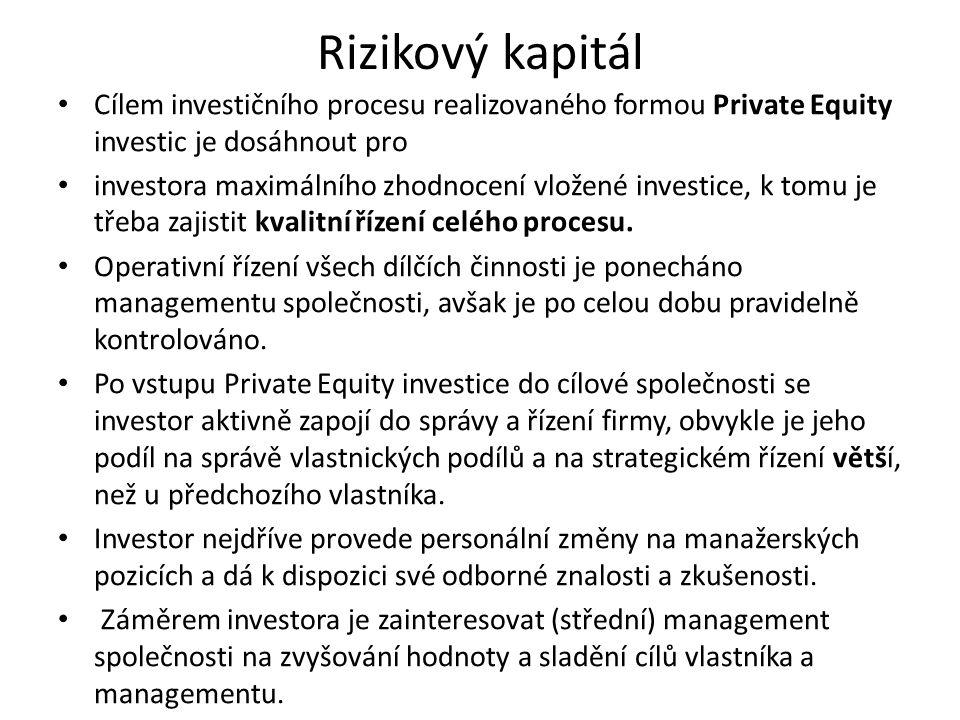 Rizikový kapitál Cílem investičního procesu realizovaného formou Private Equity investic je dosáhnout pro investora maximálního zhodnocení vložené inv
