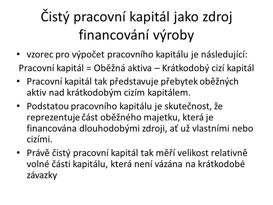 Čistý pracovní kapitál jako zdroj financování výroby vzorec pro výpočet pracovního kapitálu je následující: Pracovní kapitál = Oběžná aktiva – Krátkod