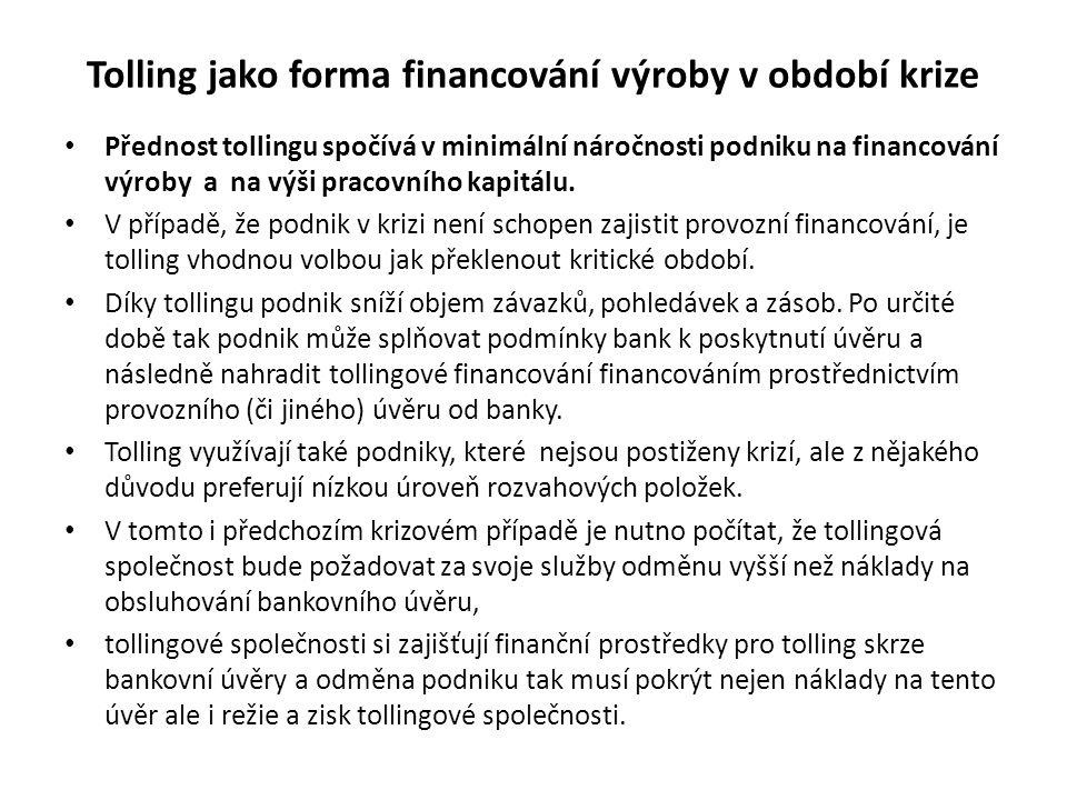 Tolling jako forma financování výroby v období krize Přednost tollingu spočívá v minimální náročnosti podniku na financování výroby a na výši pracovního kapitálu.