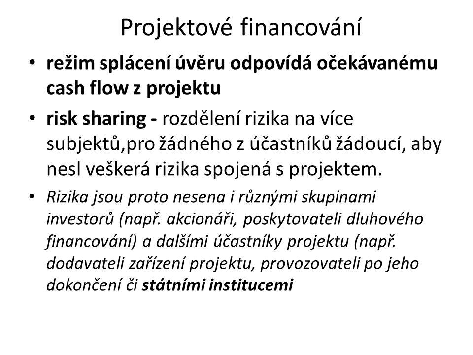 Projektové financování režim splácení úvěru odpovídá očekávanému cash flow z projektu risk sharing - rozdělení rizika na více subjektů,pro žádného z účastníků žádoucí, aby nesl veškerá rizika spojená s projektem.
