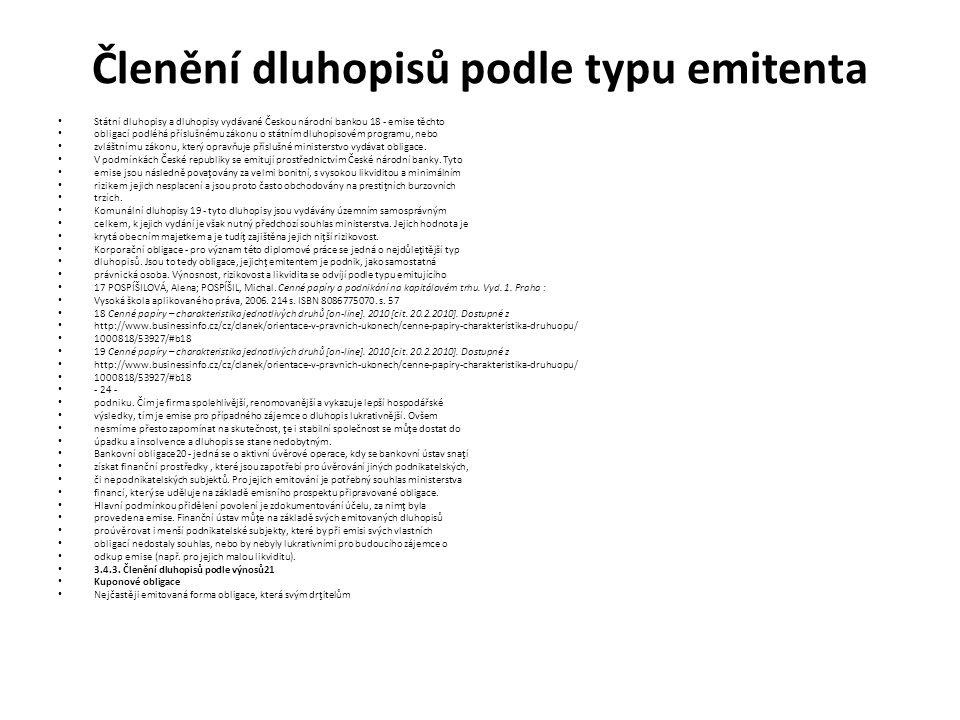 Členění dluhopisů podle typu emitenta Státní dluhopisy a dluhopisy vydávané Českou národní bankou 18 - emise těchto obligací podléhá příslušnému zákon