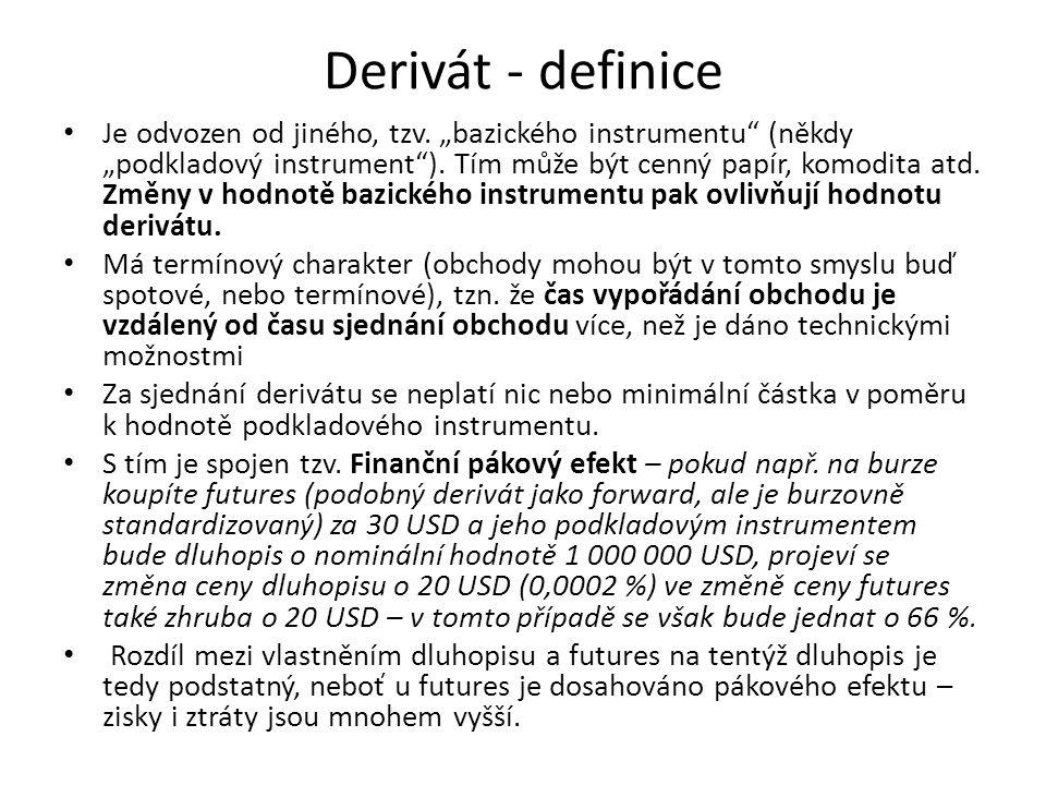 """Derivát - definice Je odvozen od jiného, tzv. """"bazického instrumentu"""" (někdy """"podkladový instrument""""). Tím může být cenný papír, komodita atd. Změny v"""
