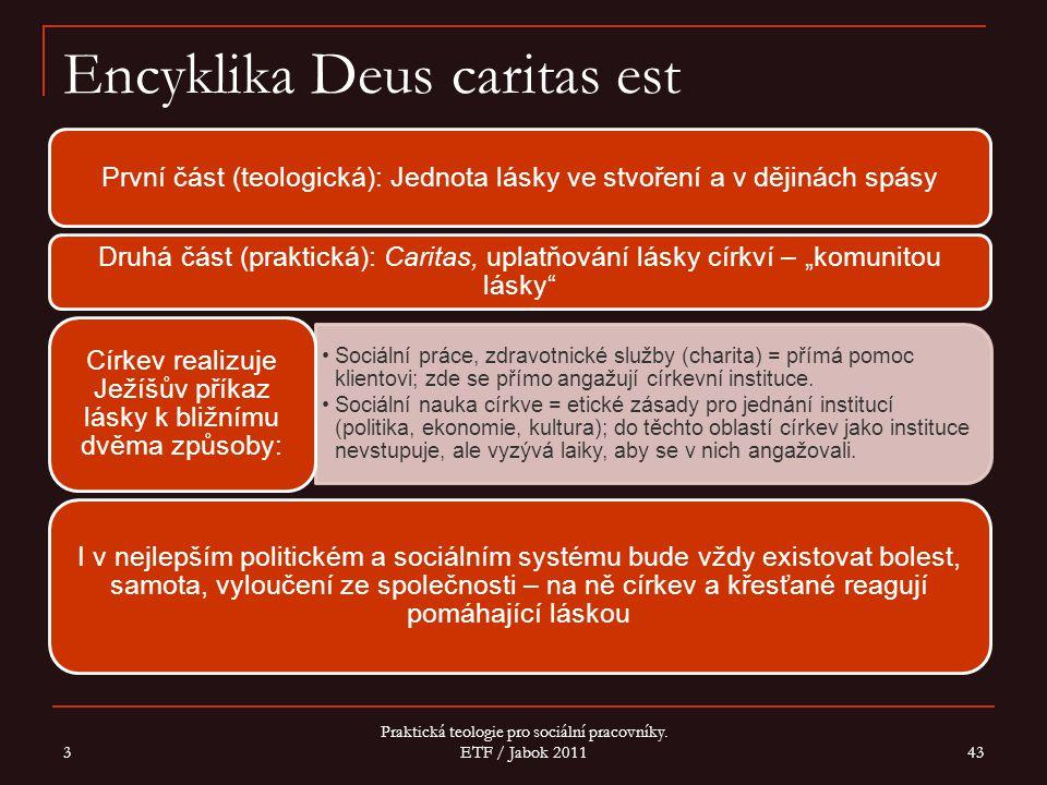 """Encyklika Deus caritas est První část (teologická): Jednota lásky ve stvoření a v dějinách spásy Druhá část (praktická): Caritas, uplatňování lásky církví – """"komunitou lásky Sociální práce, zdravotnické služby (charita) = přímá pomoc klientovi; zde se přímo angažují církevní instituce."""