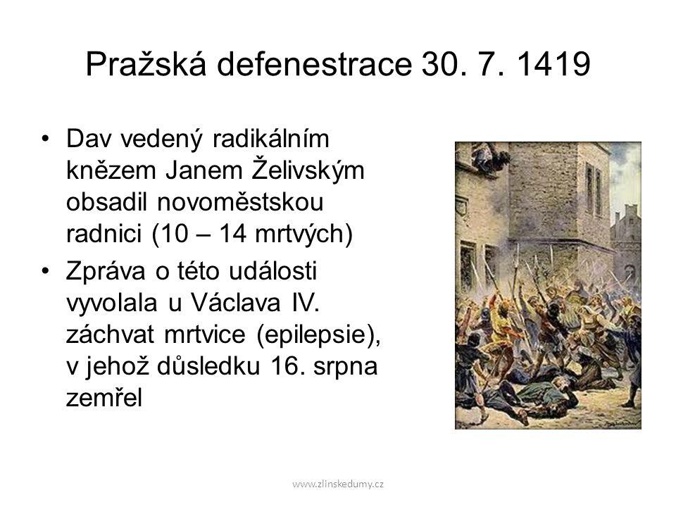 Pražská defenestrace 30. 7. 1419 Dav vedený radikálním knězem Janem Želivským obsadil novoměstskou radnici (10 – 14 mrtvých) Zpráva o této události vy