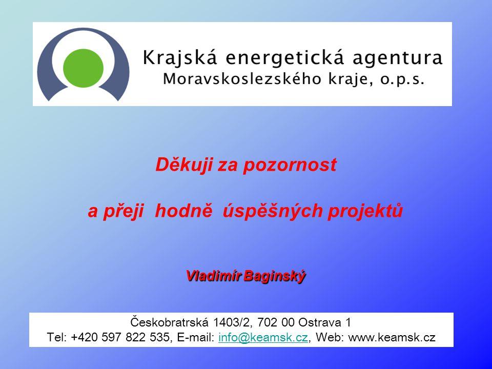 Děkuji za pozornost a přeji hodně úspěšných projektů Vladimír Baginský Českobratrská 1403/2, 702 00 Ostrava 1 Tel: +420 597 822 535, E-mail: info@keam