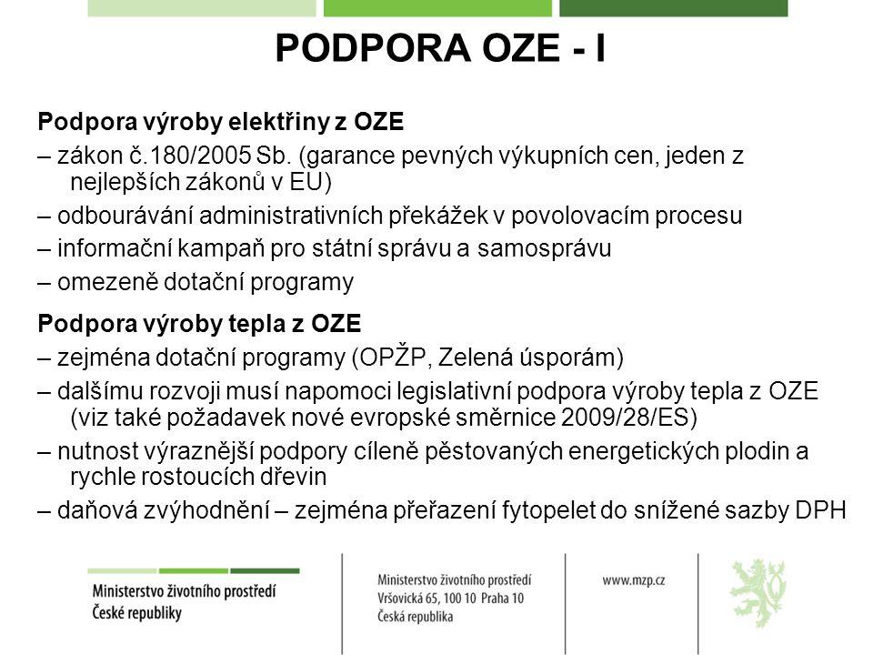 PODPORA OZE - I Podpora výroby elektřiny z OZE – zákon č.180/2005 Sb.