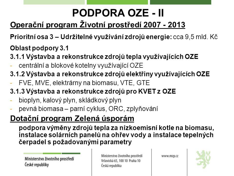 PODPORA OZE - II Operační program Životní prostředí 2007 - 2013 Prioritní osa 3 – Udržitelné využívání zdrojů energie: cca 9,5 mld.