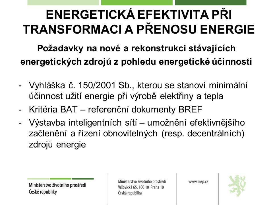 ENERGETICKÁ EFEKTIVITA PŘI TRANSFORMACI A PŘENOSU ENERGIE Požadavky na nové a rekonstrukci stávajících energetických zdrojů z pohledu energetické účinnosti -Vyhláška č.
