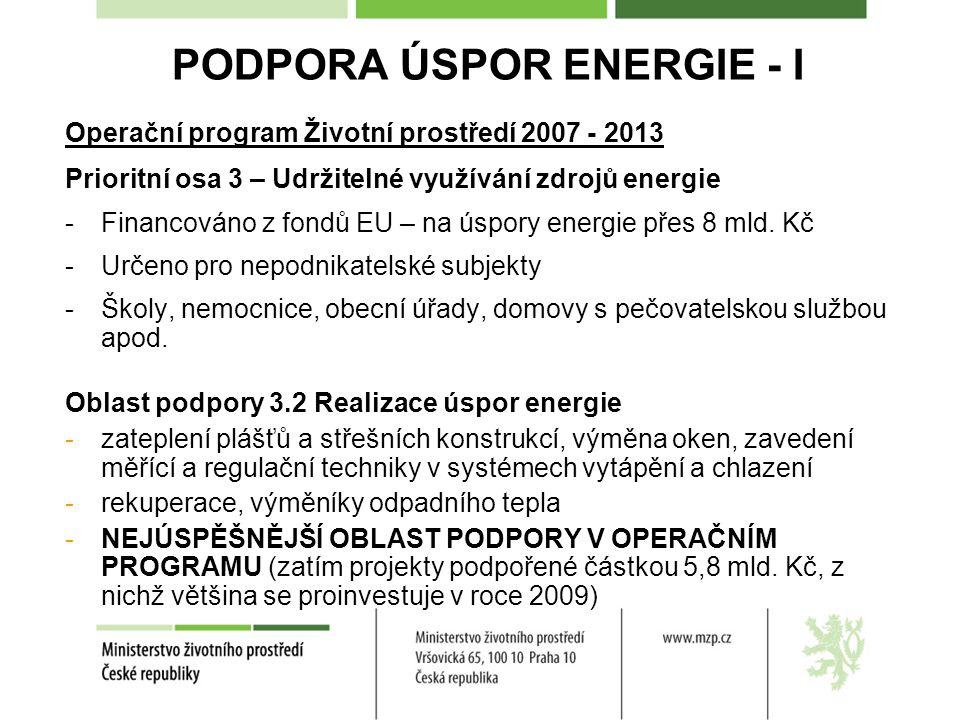 PODPORA ÚSPOR ENERGIE - I Operační program Životní prostředí 2007 - 2013 Prioritní osa 3 – Udržitelné využívání zdrojů energie -Financováno z fondů EU – na úspory energie přes 8 mld.