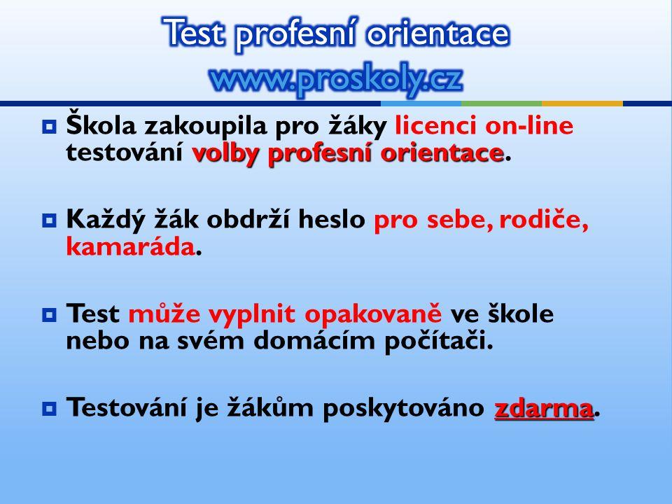 volby profesní orientace  Škola zakoupila pro žáky licenci on-line testování volby profesní orientace.  Každý žák obdrží heslo pro sebe, rodiče, kam