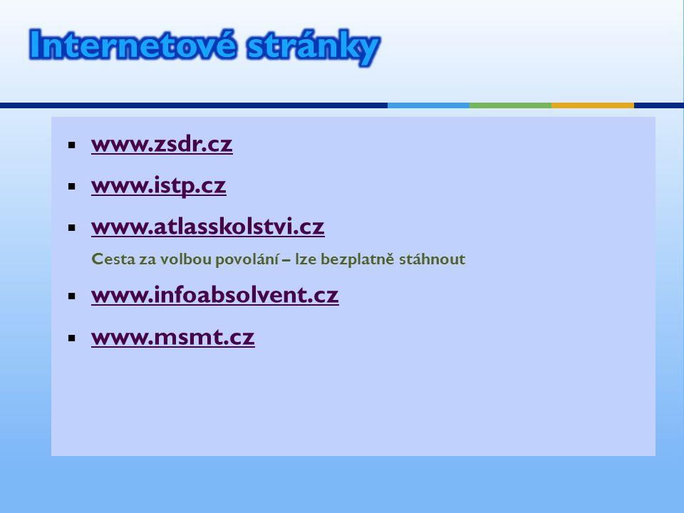  www.zsdr.cz www.zsdr.cz  www.istp.cz www.istp.cz  www.atlasskolstvi.cz Cesta za volbou povolání – lze bezplatně stáhnout www.atlasskolstvi.cz  ww