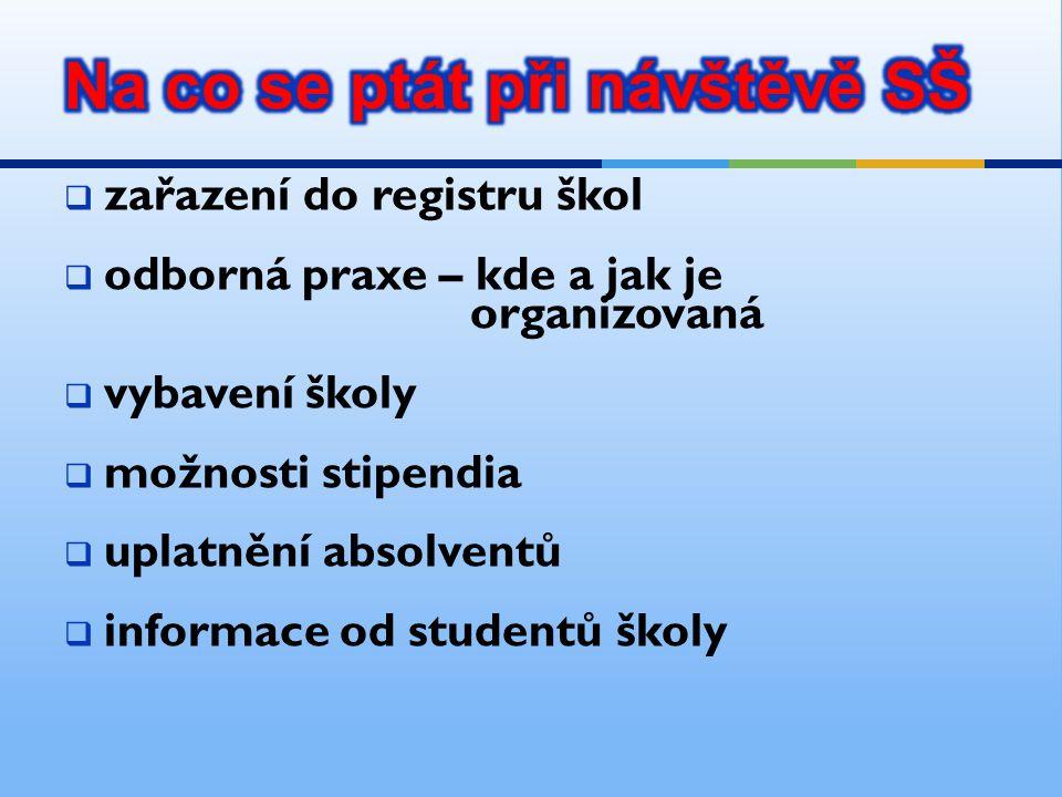  zařazení do registru škol  odborná praxe – kde a jak je organizovaná  vybavení školy  možnosti stipendia  uplatnění absolventů  informace od st