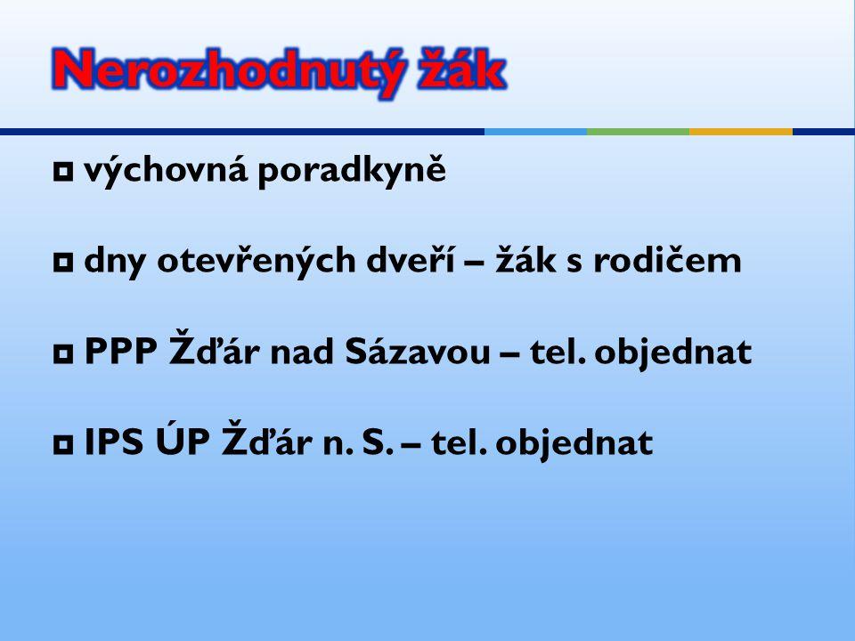  výchovná poradkyně  dny otevřených dveří – žák s rodičem  PPP Žďár nad Sázavou – tel. objednat  IPS ÚP Žďár n. S. – tel. objednat