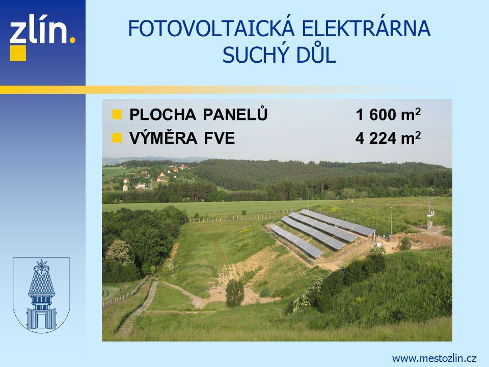 www.mestozlin.cz FOTOVOLTAICKÁ ELEKTRÁRNA SUCHÝ DŮL PLOCHA PANELŮ1 600 m 2 VÝMĚRA FVE4 224 m 2