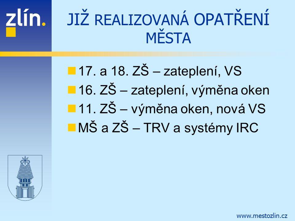 www.mestozlin.cz JIŽ REALIZOVANÁ OPATŘENÍ MĚSTA 17. a 18. ZŠ – zateplení, VS 16. ZŠ – zateplení, výměna oken 11. ZŠ – výměna oken, nová VS MŠ a ZŠ – T