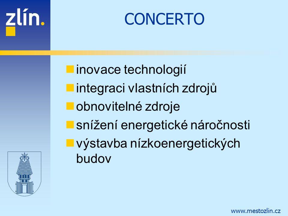 www.mestozlin.cz CONCERTO inovace technologií integraci vlastních zdrojů obnovitelné zdroje snížení energetické náročnosti výstavba nízkoenergetických