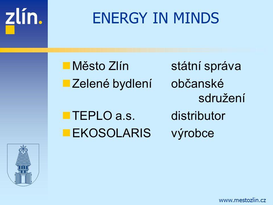 www.mestozlin.cz ENERGY IN MINDS Město Zlínstátní správa Zelené bydleníobčanské sdružení TEPLO a.s.distributor EKOSOLARISvýrobce