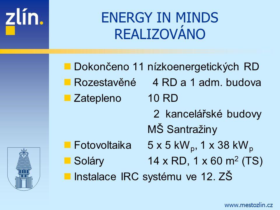 www.mestozlin.cz ENERGY IN MINDS REALIZOVÁNO Dokončeno 11 nízkoenergetických RD Rozestavěné 4 RD a 1 adm. budova Zatepleno 10 RD 2 kancelářské budovy
