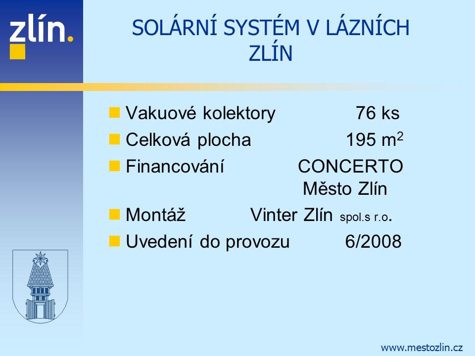 www.mestozlin.cz SOLÁRNÍ SYSTÉM V LÁZNÍCH ZLÍN Vakuové kolektory 76 ks Celková plocha195 m 2 FinancováníCONCERTO Město Zlín MontážVinter Zlín spol.s r