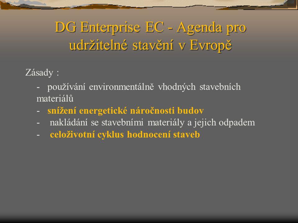 DG Enterprise EC - Agenda pro udržitelné stavění v Evropě Zásady : - používání environmentálně vhodných stavebních materiálů - snížení energetické nár