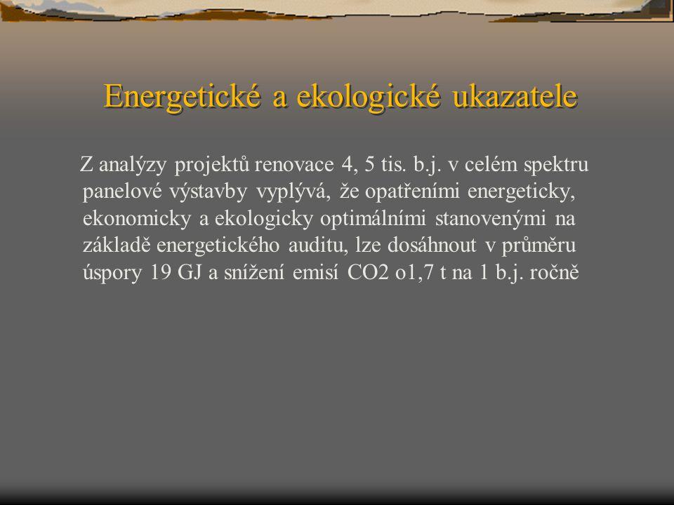 Energetické a ekologické ukazatele Z analýzy projektů renovace 4, 5 tis. b.j. v celém spektru panelové výstavby vyplývá, že opatřeními energeticky, ek
