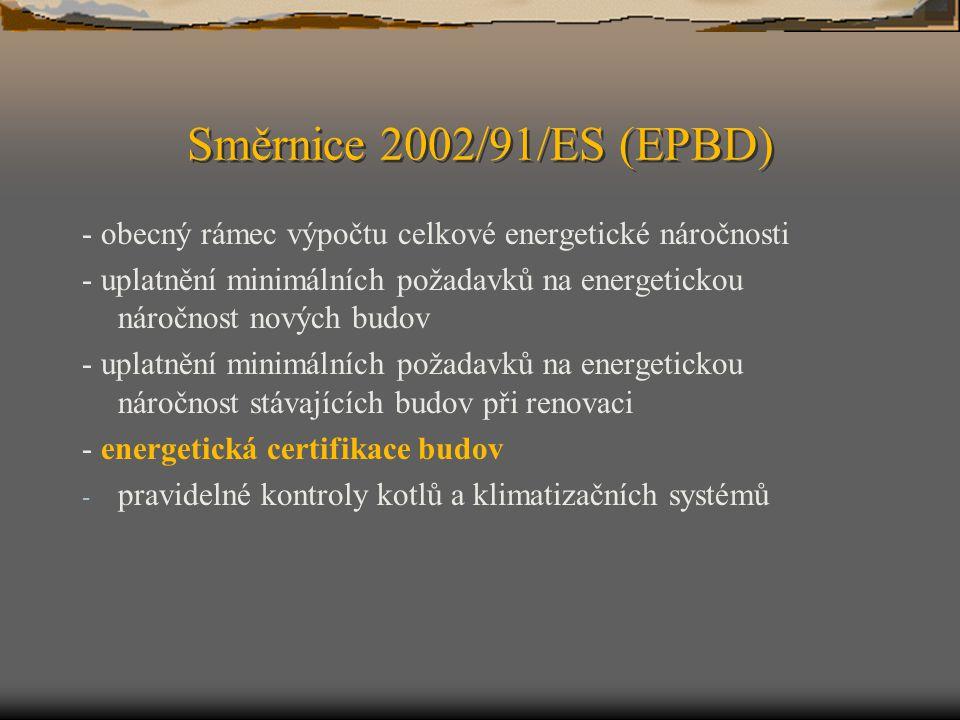 Směrnice 2002/91/ES (EPBD) - obecný rámec výpočtu celkové energetické náročnosti - uplatnění minimálních požadavků na energetickou náročnost nových bu