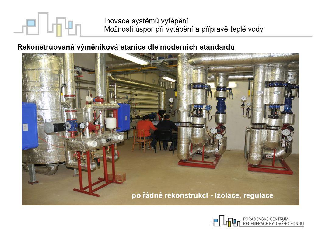 Inovace systémů vytápění Možnosti úspor při vytápění a přípravě teplé vody Rekonstruovaná výměníková stanice dle moderních standardů po řádné rekonstr