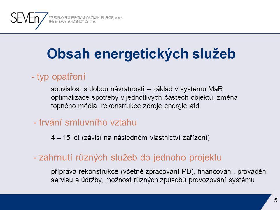 ESCO = vžitá zkratka pro firmu poskytující energetické služby (z angličtiny) Energy Services COmpany ESCO – firma energetických služeb 6