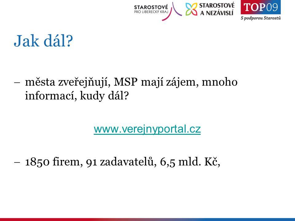 Jak dál?  města zveřejňují, MSP mají zájem, mnoho informací, kudy dál? www.verejnyportal.cz  1850 firem, 91 zadavatelů, 6,5 mld. Kč,