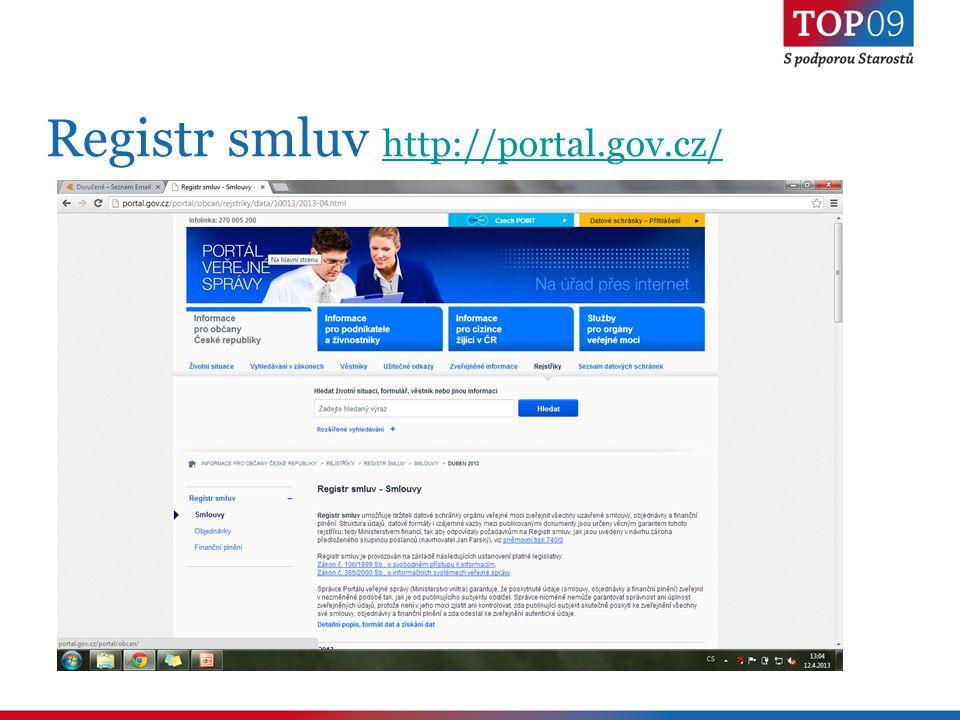 Registr smluv http://portal.gov.cz/ http://portal.gov.cz/