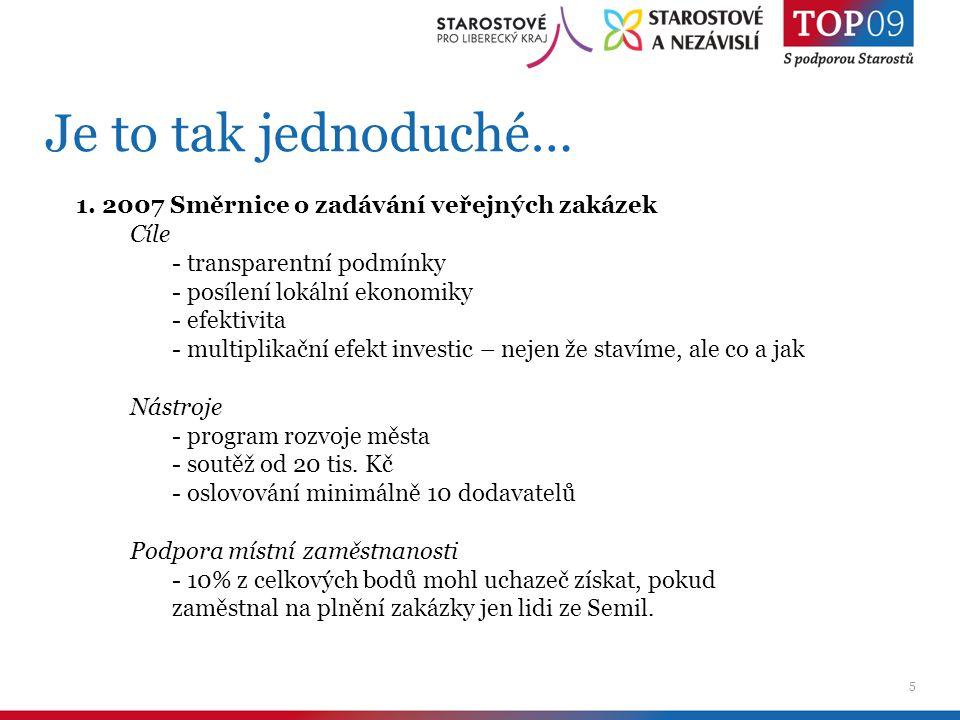 5 Je to tak jednoduché… 1. 2007 Směrnice o zadávání veřejných zakázek Cíle - transparentní podmínky - posílení lokální ekonomiky - efektivita - multip
