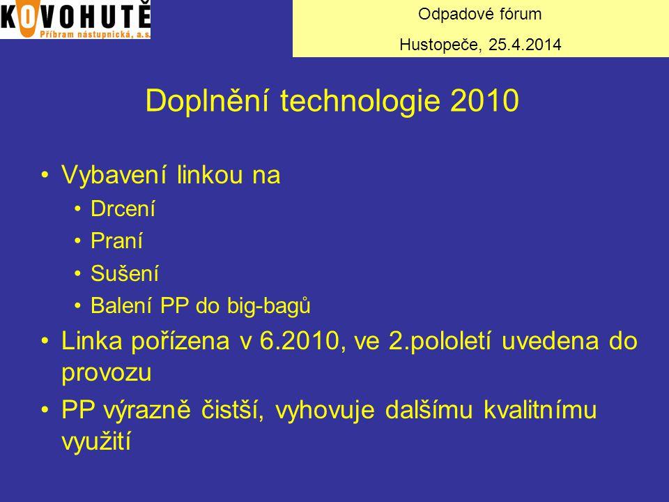 Doplnění technologie 2010 Vybavení linkou na Drcení Praní Sušení Balení PP do big-bagů Linka pořízena v 6.2010, ve 2.pololetí uvedena do provozu PP vý