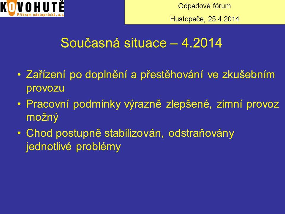 Současná situace – 4.2014 Zařízení po doplnění a přestěhování ve zkušebním provozu Pracovní podmínky výrazně zlepšené, zimní provoz možný Chod postupn