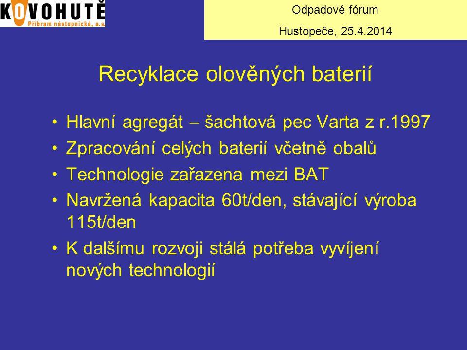 Recyklace olověných baterií Hlavní agregát – šachtová pec Varta z r.1997 Zpracování celých baterií včetně obalů Technologie zařazena mezi BAT Navržená